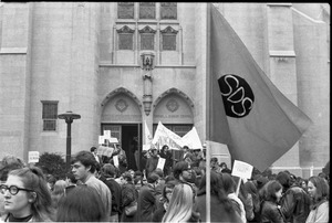 Thumbnail of Vote With your Feet anti-Vietnam War protest march protestors gathered in front of Marsh Chapel