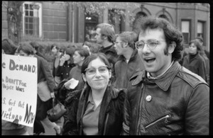 Thumbnail of Vote With your Feet anti-Vietnam War protest march Marcia Braun (smirking) and unidentified friend amongst the crowd of protesters