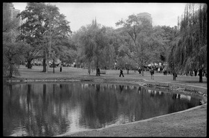 Thumbnail of Vote With your Feet anti-Vietnam War protest march View over the pond of protesters marching across the Boston Public Garden