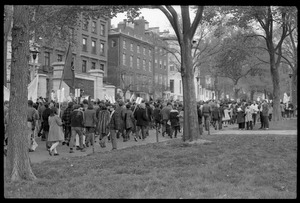 Thumbnail of Vote With your Feet anti-Vietnam War protest march Protesters marching east along Beacon Street above the Boston Common