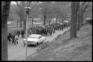 Thumbnail of Vote With your Feet anti-Vietnam War protest march Line of antiwar protesters marching on Boston Common