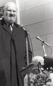 Thumbnail of Moratorium to End the War in Vietnam: Murray Levin speaking on steps of Marsh Chapel, Boston University