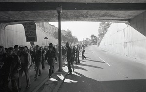 Thumbnail of Moratorium to End the War in Vietnam: demonstrators walking through tunnel on the way to the Boston Common