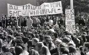 Thumbnail of Moratorium to End the War in Vietnam: crowd of demonstrators in front of Marsh Chapel at Boston University