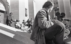 Thumbnail of Moratorium to End the War in Vietnam: man speaking on steps of Marsh Chapel at Boston University