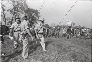 Thumbnail of Antiwar demonstration at Fort Dix, N.J.: Military officers prepare to face             protesters