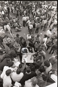 Thumbnail of Antiwar demonstration at Fort Dix, N.J.: birds-eye view of protesters,             organizing at tables
