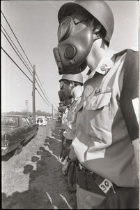 Thumbnail of Antiwar demonstration at Fort Dix, N.J.: close-up of line of military police in             gas masks
