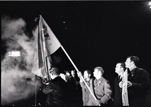 Thumbnail of Young Americans for Freedom pro-Vietnam War demonstration, Boston Common:             Burning the North Vietnamese flag