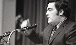 Thumbnail of Jimmy Breslin speaking at Boston University