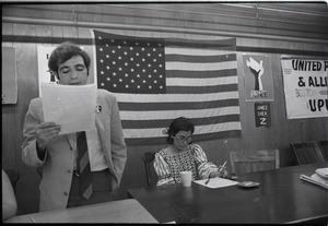 Thumbnail of Student Mobilization Committee to End the War in Vietnam meeting against SDS             violence: view of speaker