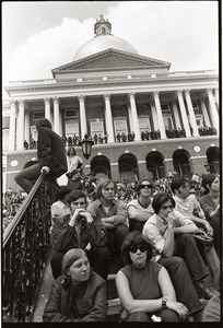 Thumbnail of Demonstration at State House against the killings at Kent State: crowd seated on             the steps of the State House