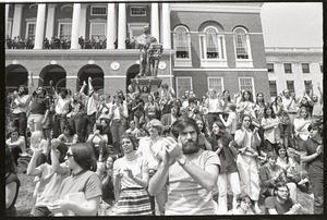Thumbnail of Demonstration at State House against the killings at Kent State: protesters             on State House steps applauding