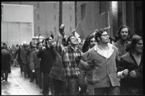 Thumbnail of MIT I-Lab demonstration: protesters, some with fists raised, by Instrumentation Laboratory