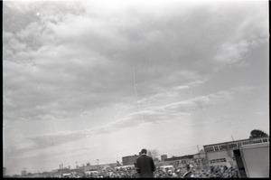 Thumbnail of Anti-war rally at Soldier's Field, Harvard University: Howard Zinn speaking to crowd