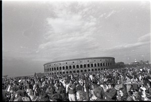 Thumbnail of Anti-war rally at Soldier's Field, Harvard University: crowd in front of Harvard Stadium