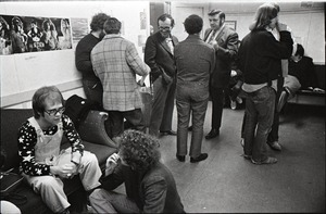 Thumbnail of Elton John backstage and performing at the Boston Tea Party: Elton John with a group, John Hochheimer against wall on left