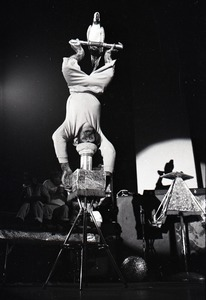 Thumbnail of Chimpanzee vaudeville act opening for the Grateful Dead at Sargent Gym, Boston University: chimpanzee balancing upside-down with parrot