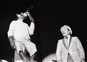 Thumbnail of Chimpanzee vaudeville act opening for the Grateful Dead at Sargent Gym, Boston University: chimpanzee smoking a cigarette