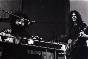 Thumbnail of New Riders of the Purple Sage opening for the Grateful Dead at Sargent Gym, Boston University: Jerry Garcia on pedal steel guitar with Dave Torbert on bass