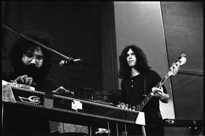 Thumbnail of New Riders of the Purple Sage opening for the Grateful Dead at Sargent Gym, Boston University: Jerry Garcia on pedal steel guitar and Dave Torbert on bass