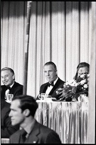 Thumbnail of Spiro Agnew speech at the Middlesex Club: dinner with Agnew (center) and Philip             Lowe (left)