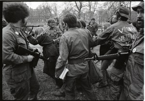 Thumbnail of Vietnam Veterans Against the War demonstration 'Search and destroy': veterans             leading 'prisoners of war' on Boston Common