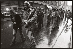 Thumbnail of Vietnam Veterans Against the War demonstration 'Search and destroy': veterans             leading 'prisoners of war' through the streets