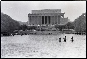 Thumbnail of May Day concert and demonstrations: wading in the Reflecting Pond by the Lincoln         Memorial