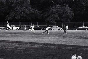 Thumbnail of Boston Phoenix vs. WBCN staff softball game: play in the outfield