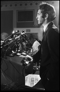 Thumbnail of Daniel Ellsberg at the podium, speaking at a press conference following the       Supreme Court decision to allow publication of the Pentagon Papers View in profile