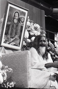 Thumbnail of Maharishi Mahesh Yogi at the University of Massachusetts Amherst: the Maharishi on stage