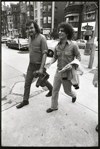 Thumbnail of Abbie Hoffman and George Kimball walking on Newbury Street