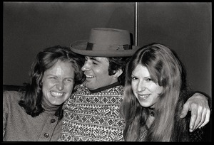 Thumbnail of Joe Spadafora, at the opening of Club Zircon, seated with arms around two women             (Dodie Albertson, right)