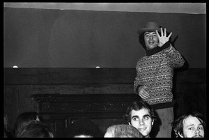 Thumbnail of Joe Spadafora, at the opening of Club Zircon, raising hand