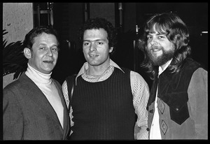 Thumbnail of Unidentified man, Al Perry, and Stu Werbin at Elektra Records party (l. to         r.)