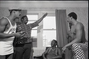 Thumbnail of Persuasions at the Lenox Hotel: rehearsing, Jerry Lawson, Jessie 'Sweet Joe' Russell, Herbert 'Toubo' Rhoad, Jayotis Washington, and Jimmy Hayes