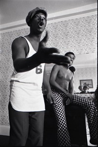 Thumbnail of Persuasions at the Lenox Hotel: rehearsing, Jerry Lawson with Jimmy Hayes in the background