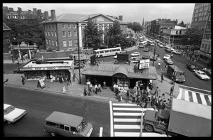 Thumbnail of Harvard Square: bird's-eye view of news kiosk, subway station, and intersection,             looking east along Massachusetts Avenue
