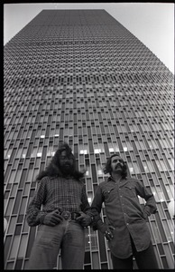 Thumbnail of Cheech and Chong in front of the Prudential Building: Tommy Chong (l) and Cheech Marin