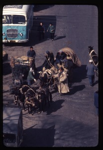 Thumbnail of Donkeys, wagon, men talking, bus in background