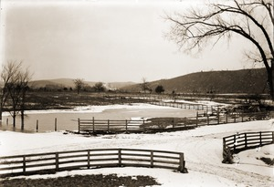 Thumbnail of Winter scene of fence and pond adjacent to the Brooks-Fewell house (Greenwich,             Mass.)