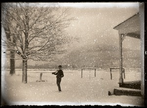 Thumbnail of Boy in falling snow (Greenwich, Mass.)