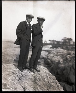 Thumbnail of George S. Akasu (left) and unidentified man standing on a rocky shore