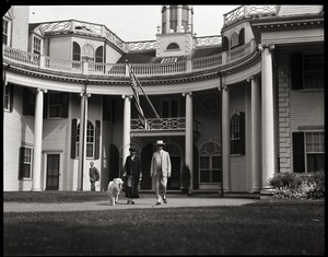 Thumbnail of Calvin and Grace Coolidge with their collie at White Court, on Little's Point Road in Swampscott