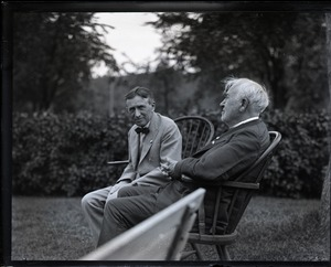 Thumbnail of Group sitting on Windsor chairs on the lawn at the Fireside Inn: Harvey             Firestone and Thomas A. Edison (l. to r.)
