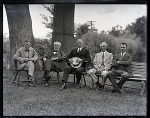 Thumbnail of Harvey Firestone, Thomas A. Edison, Alvan T. Fuller, Henry Ford and Alton          Blackington(?), seated outside (l. to r.)