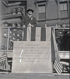 Thumbnail of Benjamin Johnson speaking at dedication ceremonies, for laying the cornerstone of          the Veteran's Memorial Auditorium and City Hall