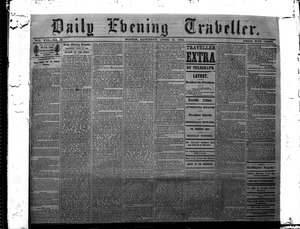 Thumbnail of Lincoln headlines: Daily Evening Traveler, April 15, 1865 'Death of the President'