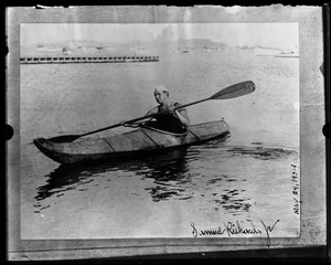Thumbnail of Samuel Richards (long-distance swimming champion) Copy of autographed print Richards in a kayak
